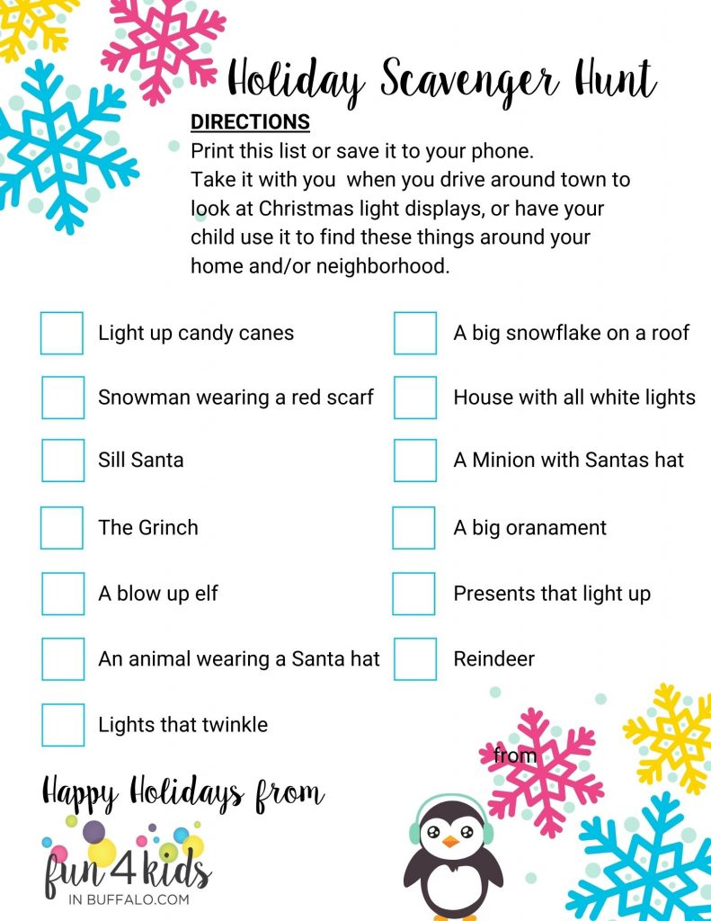 Holiday Scavenger Hunt by Fun 4 Kids